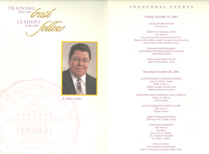 Inauguration Program for of Dr. Mark L. Bailey. Click for enlarged image.