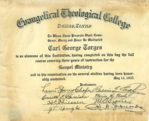 Diploma, 1935. Click for enlarged image.