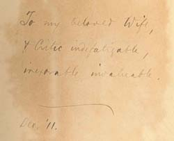 An inscription by Dr. Griffith Thomas to his wife in the book The Work of the Ministry. Click for enlarged image.
